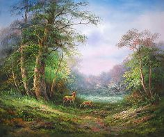 forest and deer photos | Yessy  A ART  ORIGINAL OIL PAINTINGS  DEER IN FOREST PAINTING
