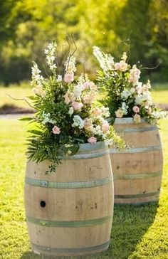 Rustic country themed outdoor garden wedding #Country #Garden #Outdoor #Wedding #Rustic #Farm #Ranch #Barrels #Flowers #Floral