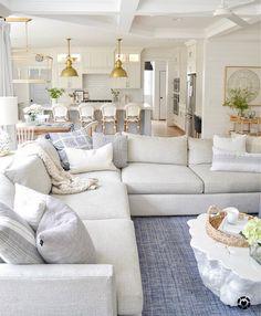 Home Living Room, Living Room Designs, Living Room Decor, Hamptons Living Room, Living Room With Sectional, Coastal Living Rooms, Living Spaces, Small Living, Apartment Living