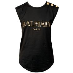 Balmain Logo Tee Black+Gold ($170) ❤ liked on Polyvore featuring tops, t-shirts, shirts, blusas, black top, sleeveless tee, balmain t shirt, sleeveless tshirts and embellished t shirts