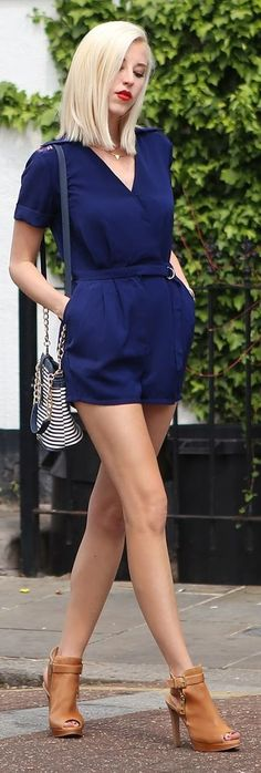 This outfit emphasizes her small waist.
