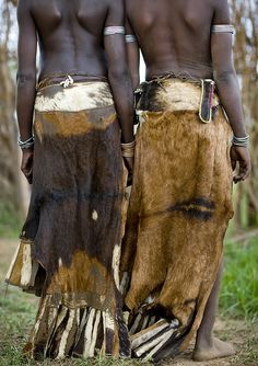 Africa | Nyangatom skirts.  Ethiopia © Eric Lafforgue | Nyangatom people live on the Omo river banks in south Ethiopia. They are both in Sudan and Ethiopia.