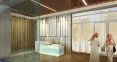 A security vestibule at the inpatient entrance uses durable surfaces without looking institutional. Rendering: Perkins+Will. Vestibule, Conceptual Design, Behavior, Entrance, Medical, Wellness, City, Health, Interior