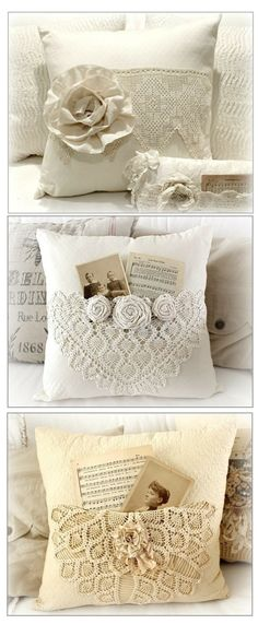 photo only - add crocheted doilies to muslin pillows and top with fabric flowers for vintage appeal