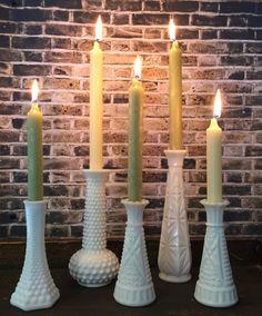 Milk Glass Vases, White, Set of 5, Candleholder, Rustic Decor, Shabby Chic, Vintage, Cottage, Centerpiece, Taper, Wedding, Hobnail, Bud Vase