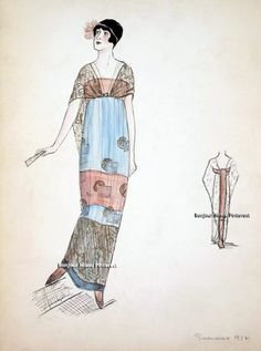 Evening dress, Callot Soeurs, Summer 1912. Long sleeveless dress with wide horizontal bands of light blue and orange; sheer black train attached in front at bodice; geometric design on dress fabric. Bendel Collection, Brooklyn Museum