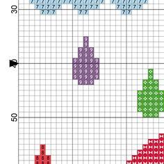 Colorful Rain Cross Stitch Pattern