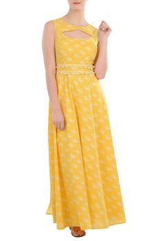 Cutout Dandelion Print Cotton Maxi Dresses, Cotton Cambric Sleeveless Maxi Print Dresses Shop Women's Designer Dresses, Silk Dresses, Black Dresses, Women's Special Occasion Dresses CL0035891   eShakti