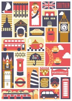 A London poster by Nicola Meiring. London Illustration, Digital Illustration, Photo Illustration, City Poster, London Poster, London Art, London Landmarks, Pub, Travel Posters
