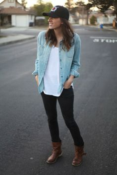 Go casual for weekend wear with denim and a baseball cap.  I love this look!