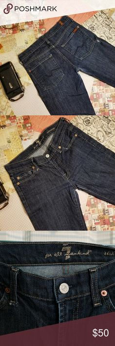 """SEVEN FOR ALL MANKIND DARK WASH JEANS 27 Great pair of dark wash straight leg jeans. These are in excellent condition from a clean smoke and pet free home.  Roxanne fit  98% cotton/ 2% elastane    Please James or size 27 laying flat the insane measures 32"""". 7 For All Mankind Jeans Straight Leg"""