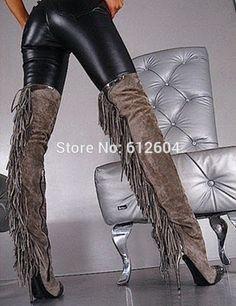 sexy jeans patchwork women ui | 2014 vrouwen kwastje lange laarzen grijs suède lederen dij hoge ...