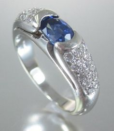 BVLGARI BULGARI 18 KT White Gold Sapphire Diamond Ring W/ APPRAISAL at www.shoplindasstuff.com