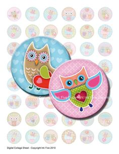 Owls in Love 1 x 1 inch circles Valentines Digital Collage Sheet for funny bottle caps, jewelry, magnets, badges. Bottlecap graphics. $4.20, via Etsy.