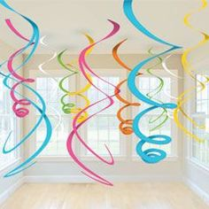 "Add some bright neon colors to your party decorations and hang our 22"" multi color swirls from ceilings over tables, in windows or doorways...."