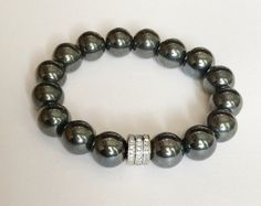 0,66 ct silver HEMATITE and DIAMOND bracelet, hematite and genuine diamond bracelet, FREE shipping