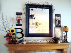 Mantel  Decorations : IDEAS & INSPIRATIONS :  Fall Mantel for (Almost) Nothing