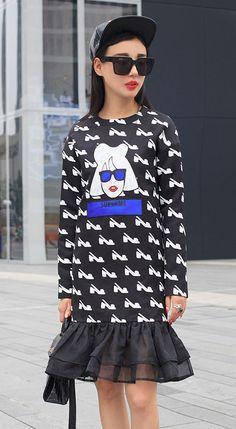 Fashiontroy Unique mix & match long sleeves crew neck black high heels girl printed organza blend mini dress