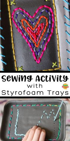 Most current Images hand sewing for kids Style Kids can learn to sew or practice basic sewing stitches using a styrofoam produce tray, a plastic Toddler Crafts, Diy Crafts For Kids, Art For Kids, Kid Art, Yarn Crafts, Sewing Crafts, Sewing Basics, Basic Sewing, Sewing Tips