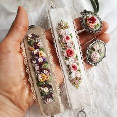 😍🌹 My little flower bed blooms.🌸 🚫Bracelets are sold. ✔Brooch and pendant-on sale. 🖍To address in direct. Embroidery Bracelets, Hand Embroidery Stitches, Silk Ribbon Embroidery, Embroidery Thread, Embroidery Designs, Yarn Inspiration, Brazilian Embroidery, Textiles, Miniature