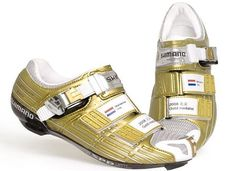 Shimano custom gold shoes for Olympic champion.