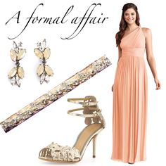 For a more formal affair, we love adding a little shine to this full-length coral bridesmaid dress. Donna Morgan Peachfuzz dress. #brideside #wedding #color #bridesmaid #color #donnamorgan  Coral Bridesmaid Dress Trends | Brideside