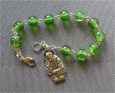 Handmade Saint Pio  8mm Green Crackle Glass by JaysReligiousGifts