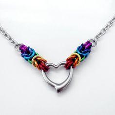 "#Rainbow #Byzantine & Stainless Steel Heart Pendant Necklace 52cm / 20"""
