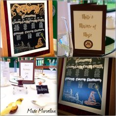 Harry Potter chalkboard Table Plan and Table Names by Made Marvellous Harry Potter Table, Harry Potter Wedding, Table Name Cards, Table Names, Chalkboard Table Plan, Table Plans, Wedding Table, Weddings, How To Plan