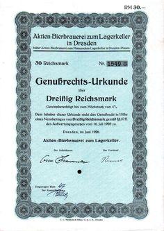 Aktien-Bierbrauerei zum Lagerkeller in Dresden Genussschein 30 RM 1926