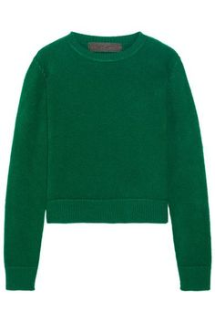 The Elder Statesman - Cropped Cashmere Sweater - Green - large