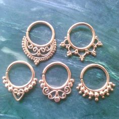 A little collection of our rose gold plated septum rings.