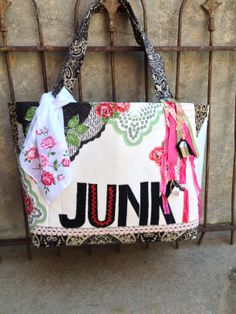 JUNK bag pattern with Vintage hankies & trims