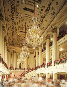 Powell Hall decorated for the holidays. This is the reason I wanted to be in the St. Louis Symphony Chorus. Powell at Christmastime.