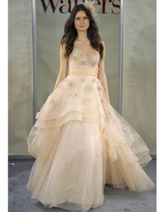 Crystal-embellished peachy tulle gown from Watters. Love!