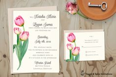 Rustic Wedding Invitation, Country Wedding Invitations, Watercolor Tulip Wedding Invitation Set, DIY Printable Digital File, Spring Wedding by SugarSpiceInvitation on Etsy https://www.etsy.com/listing/384589492/rustic-wedding-invitation-country