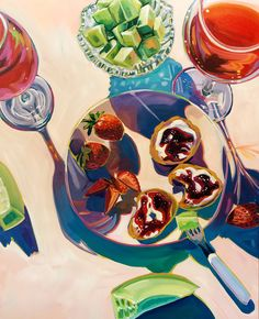Honeydew and Strawberries — Sari Not Sorry Art from Sari Shryack Food Painting, Painting & Drawing, Gouache, Arte Sketchbook, Pretty Art, Art Inspo, Food Art, Art Reference, Art Drawings
