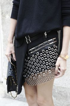 We're loving this chain mail mini-kilt #PFW WGSN street shot, Paris Fashion Week, spring/summer 2014