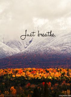 Just Breathe quotes quote colorful red trees life mountain snow orange cold just breathe