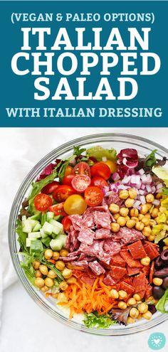 Italian Vinaigrette Recipe, Italian Salad Recipes, Italian Chopped Salad, Fresh Salad Recipes, Healthy Salad Recipes, Chopped Salads, Kale Recipes, Avocado Recipes, Paleo Vegan