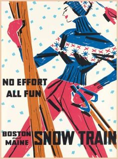 All-Fun-Boston-amp-Maine-Snow-Train-Vintage-Railroad-Travel-Advertisement-Poster