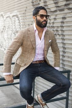 Superb spring/summer look. Love the glenplaid jacket. from TSB Men