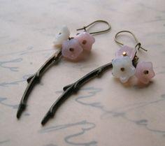 sakura earrings, february 2008 February, Handmade Jewelry, Christmas Ornaments, Holiday Decor, My Style, Earrings, Etsy, Xmas Ornaments, Ear Rings