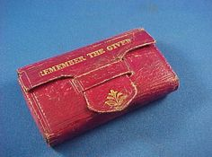 Antique c 1850  Victorian English Red Moroccan Leather Needle Case,Pin Cushion, Remember the Giver