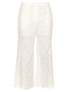 Roza broidere-anglaise cotton cropped trousers | Zimmermann | MATCHESFASHION.COM US
