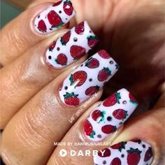 Strawberry Nail Art Tutorial Using Rever. Strawberry Nail Art Tutorial Using Reverse Stamping Technique Diy Nails, Cute Nails, Pretty Nails, Manicure, Nail Art Designs, Strawberry Nail Art, Nail Polish, Nail Nail, Nail Art Videos