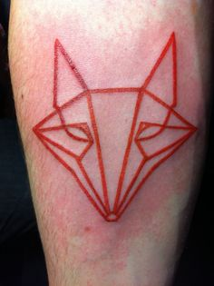 #tattoo #symmetrical #geometrical #lined #redwork #nature #animal #fox