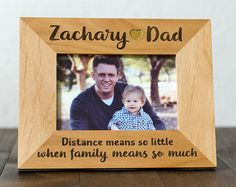 Father and Son Picture Frame, 4x6 or 5x7 Frame, Family Military Deployment, Distance means so little, Long Distance Dad, Wife and Son