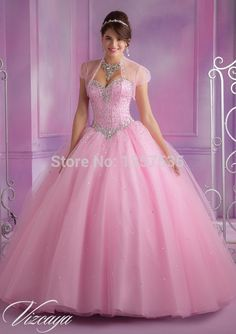 New Arrival 2014 Pink Quinceanera Dresses Ball Gown Crystal Debutante Gown Tulle Vestido De15 Anos Free Shipping Lace Up DQ392
