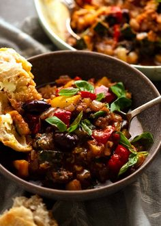 Ratatouille in a bowl with a side of crusty bread Vegetable Stew, Vegetable Side Dishes, Veg Stew, Vegetable Recipes, Vegetarian Recipes, Cooking Recipes, Veggie Meals, Healthy Meals, Ratatouille Recipe
